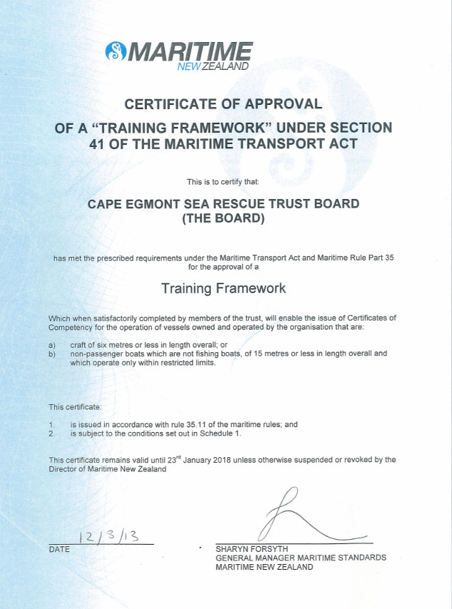 Certificate of approval - Cape Egmont Sea Rescue